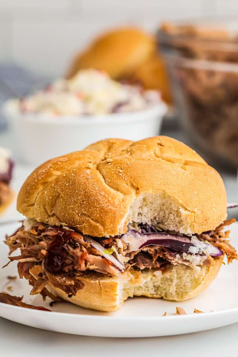 bite out of smoked pulled pork sandwich