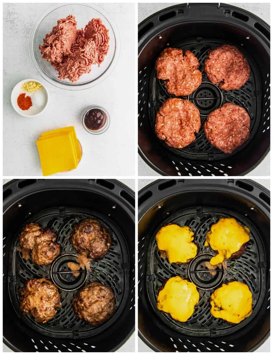 step by step photos of how to make air fryer bbq burgers