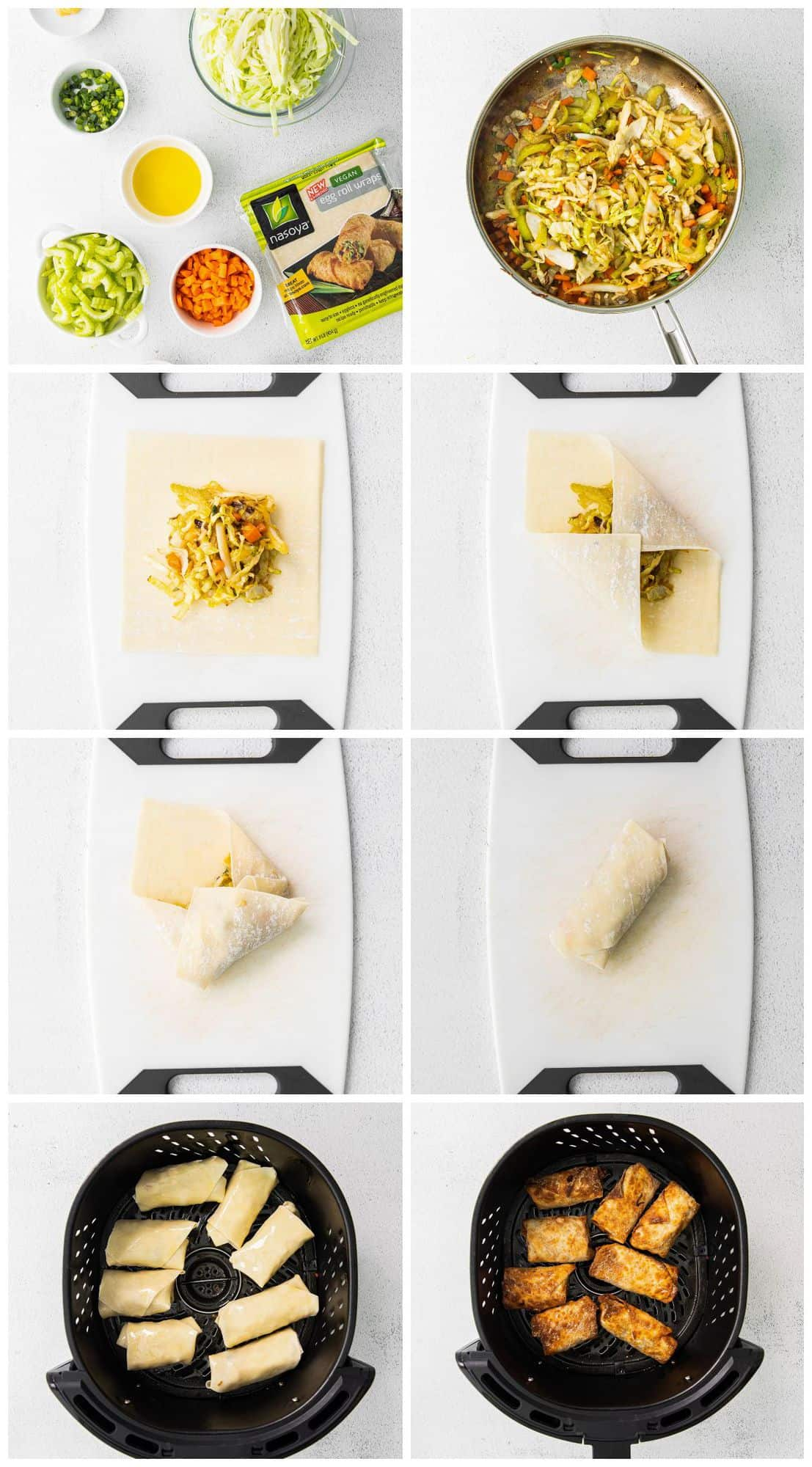 step by step photos of how to make air fryer egg rolls