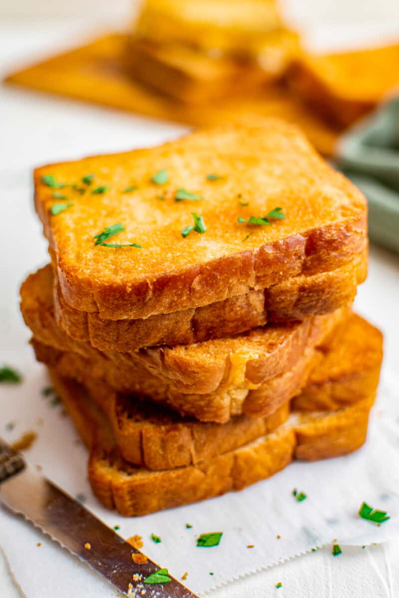 stacked grilled cheeses made in an air fryer