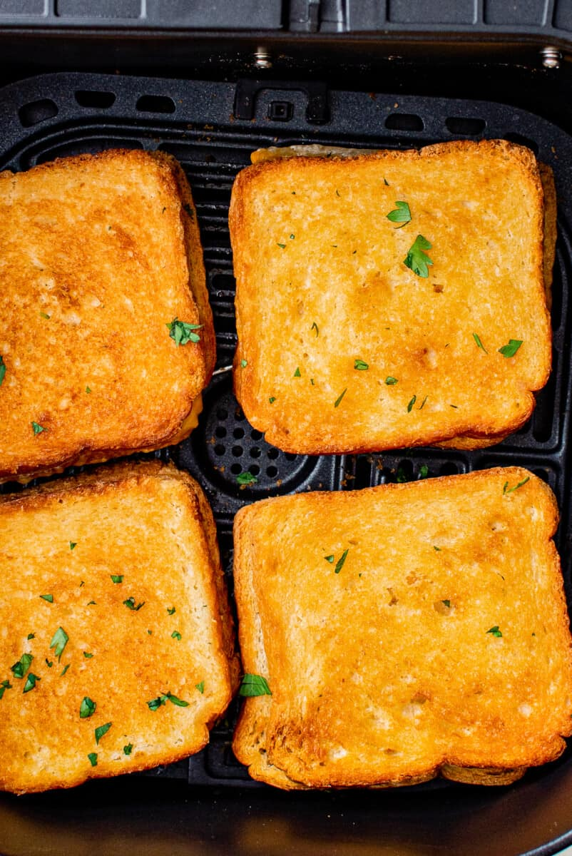 grilled cheese sandwiches in an air fryer