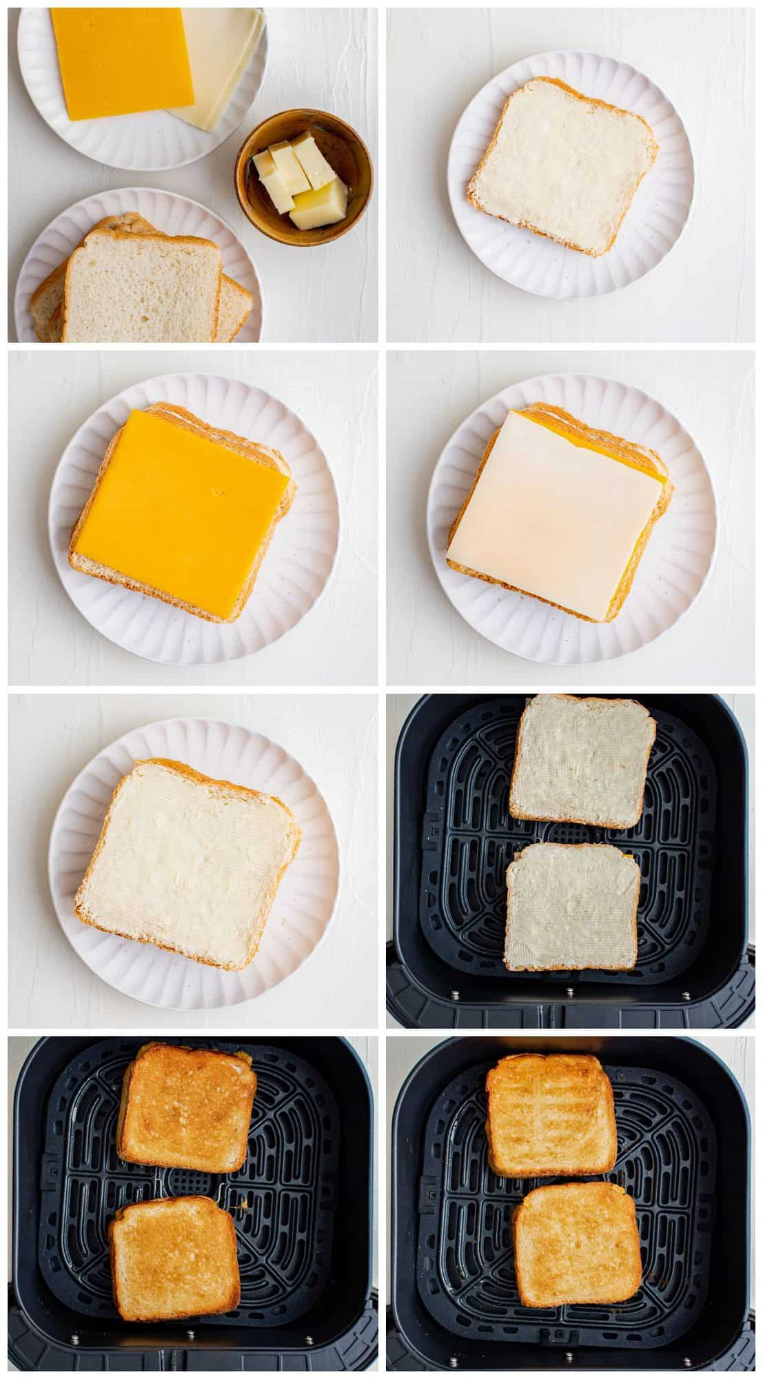 step by step photos for how to make grilled cheese in an air fryer