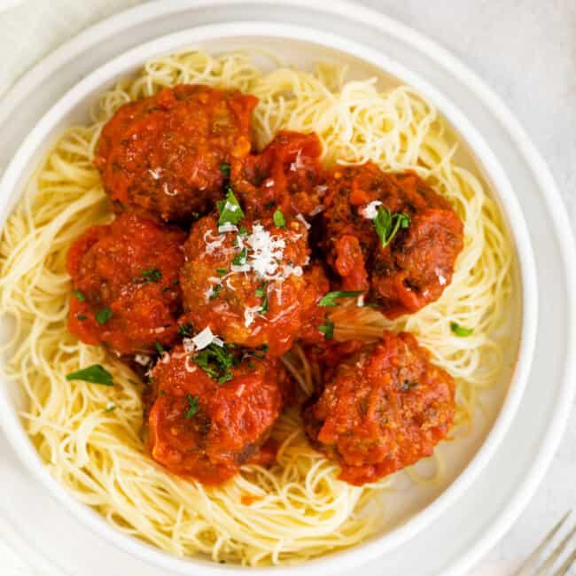 air fryer meatballs over pasta