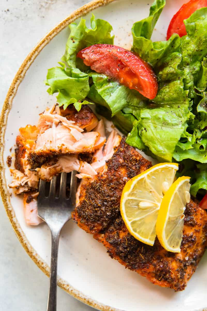 flakey air fryer salmon with green salad