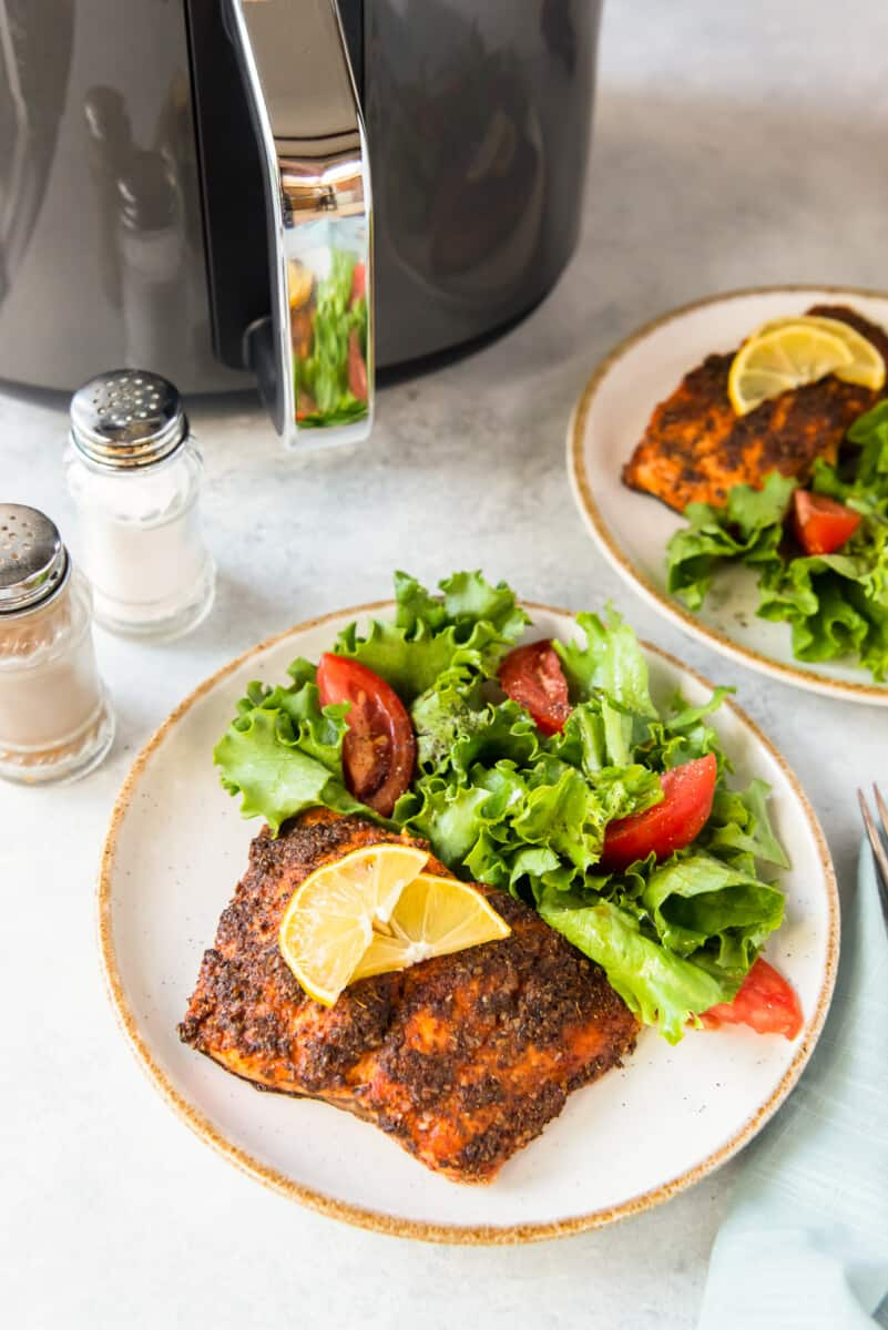 two plates of air fryer salmon