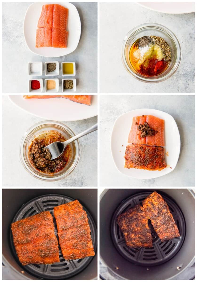 step by step photos for how to make air fryer salmon