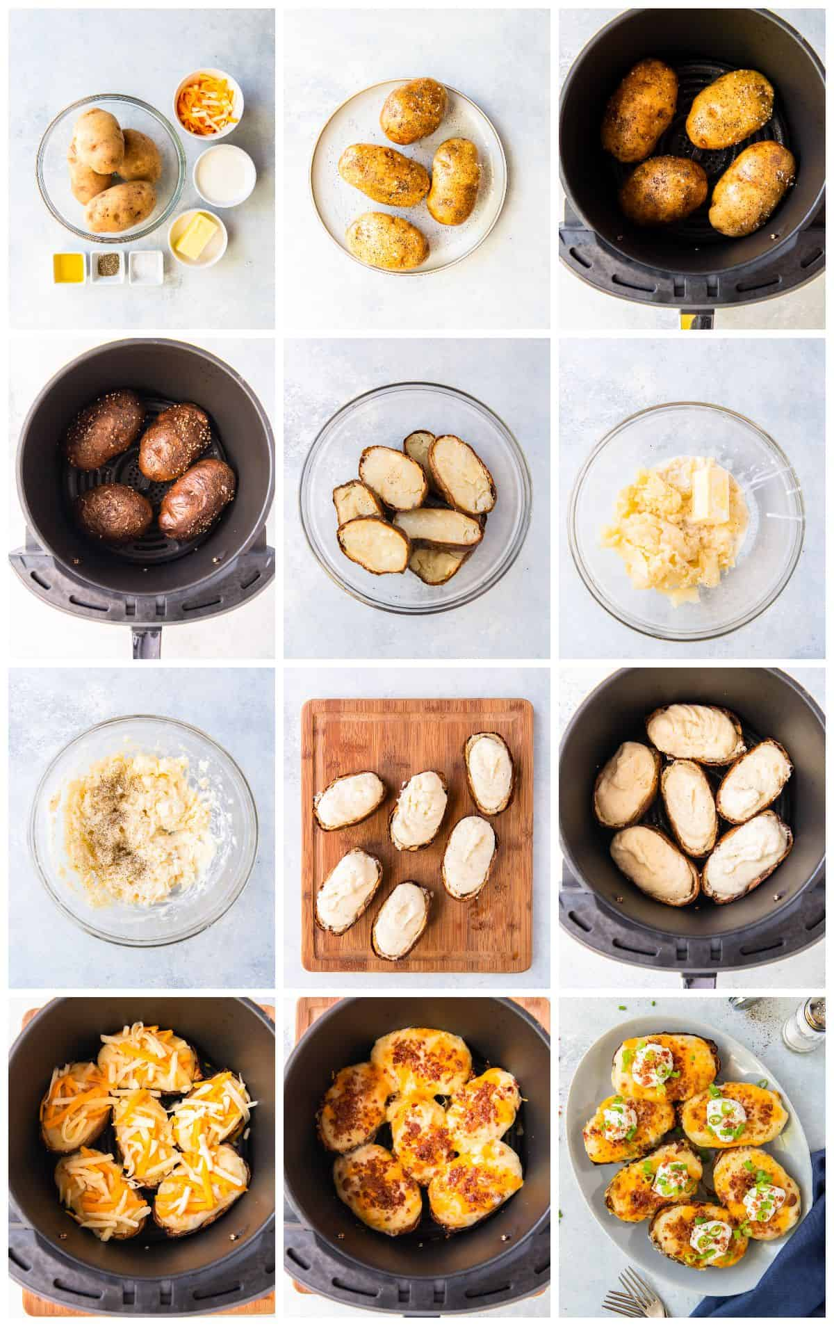 step by step photos for how to make air fryer twice baked potatoes