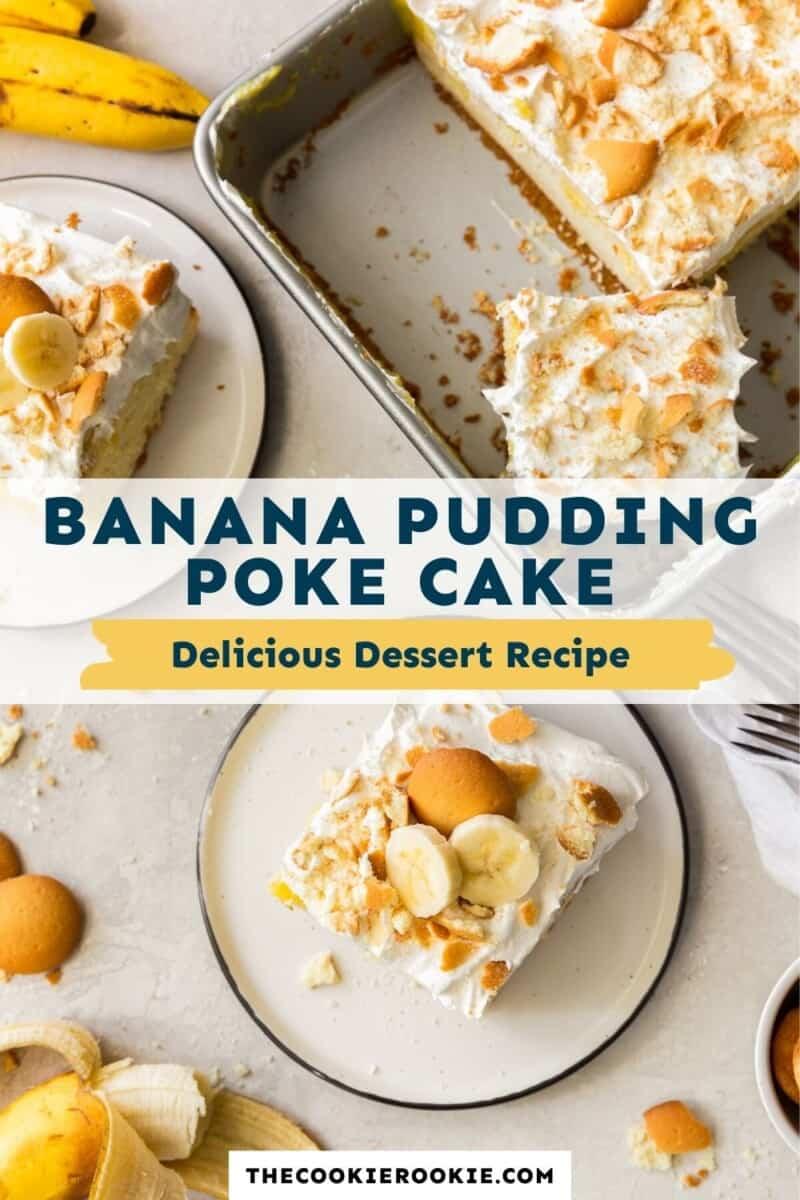 banana pudding poke cake pinterest collage