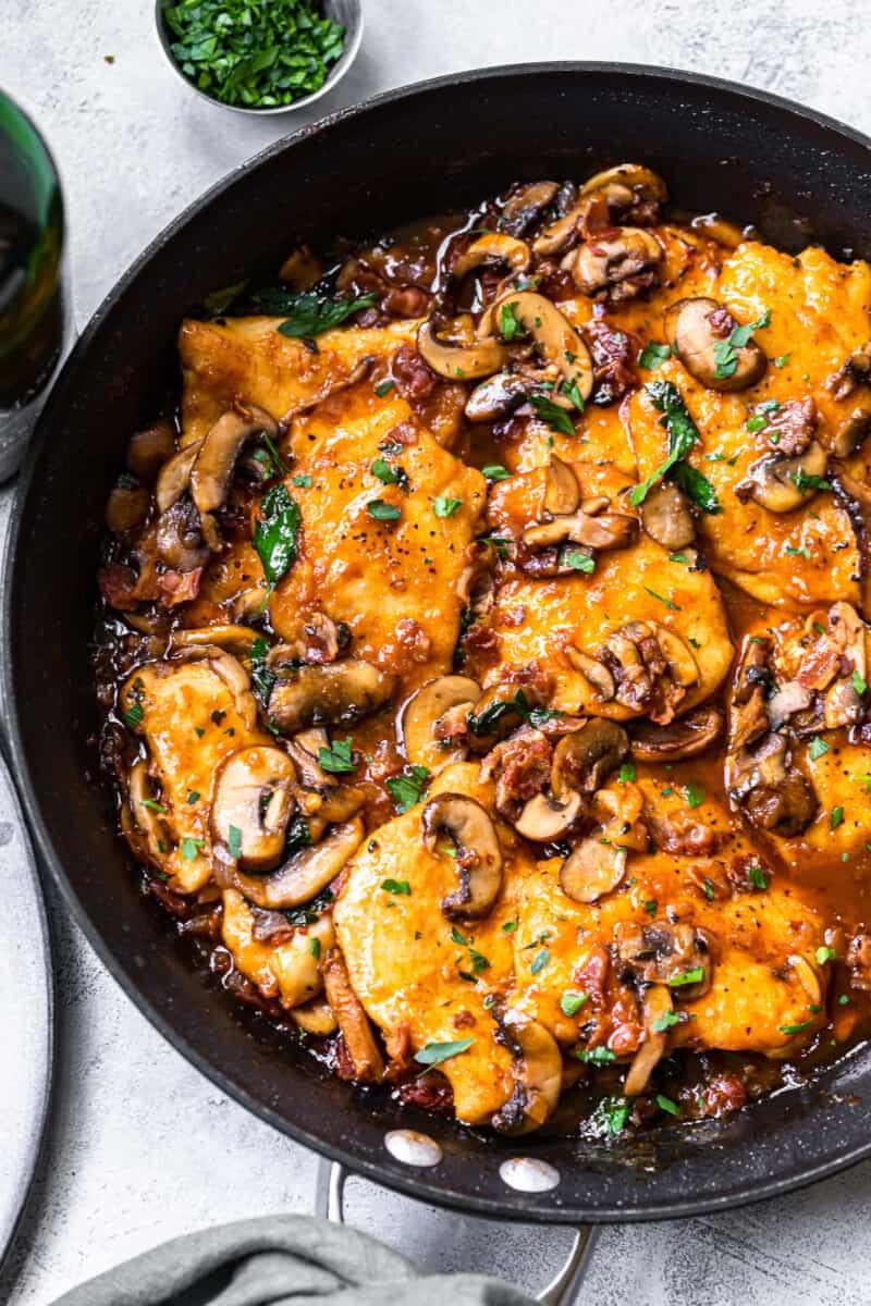 overhead chicken marsala in skillet