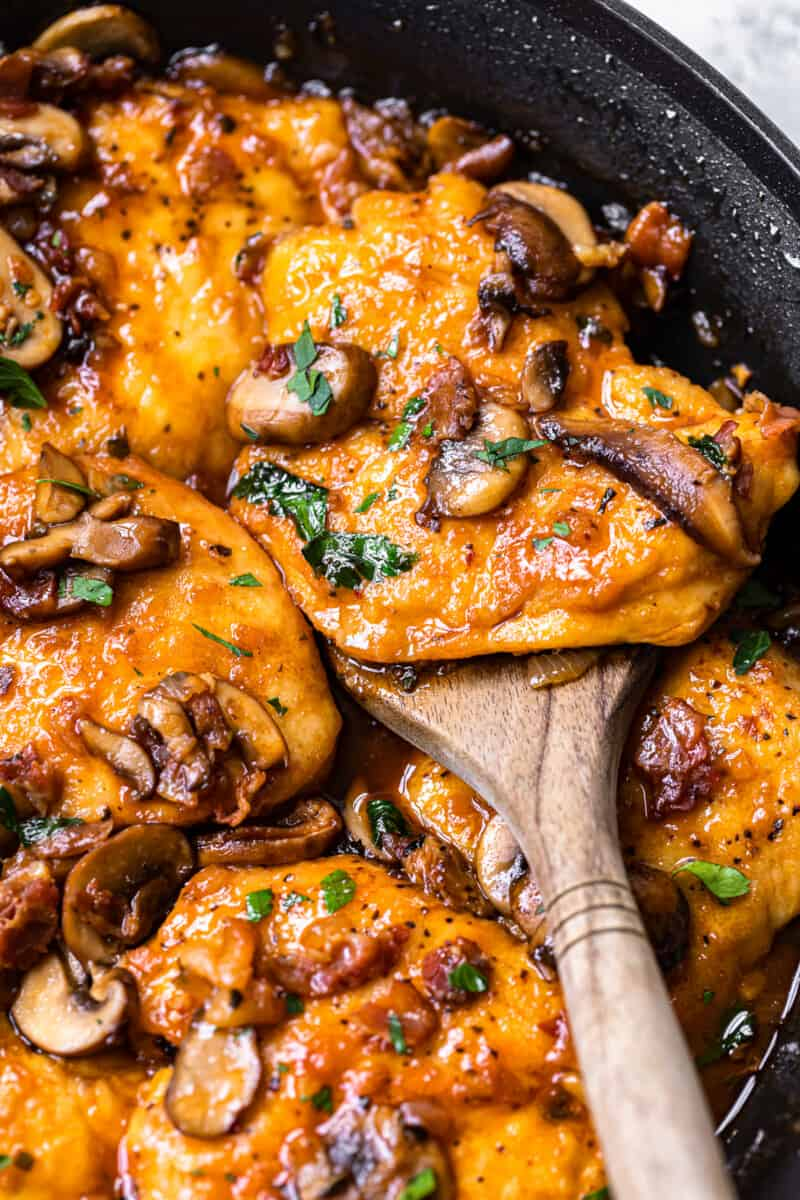 up close chicken marsala with wooden spoon