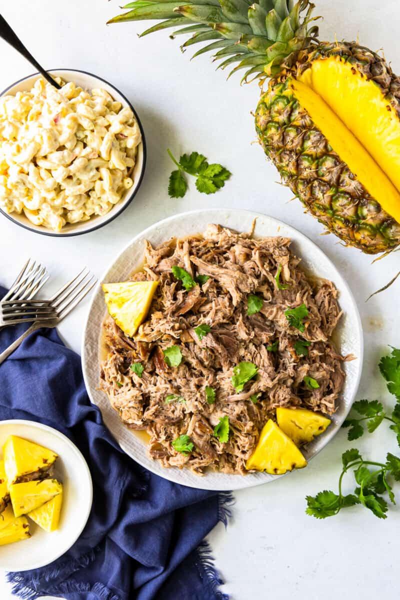 plate of kalua pork with pineapple