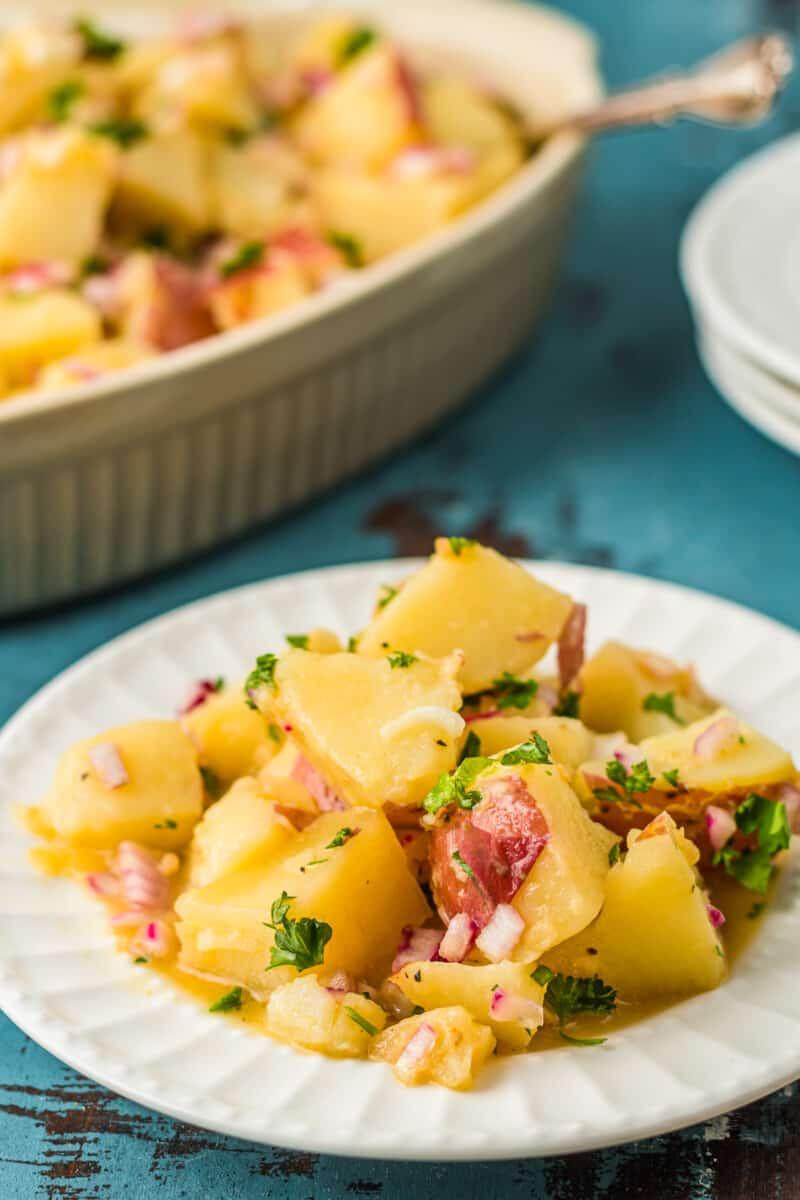 white plate with german potato salad