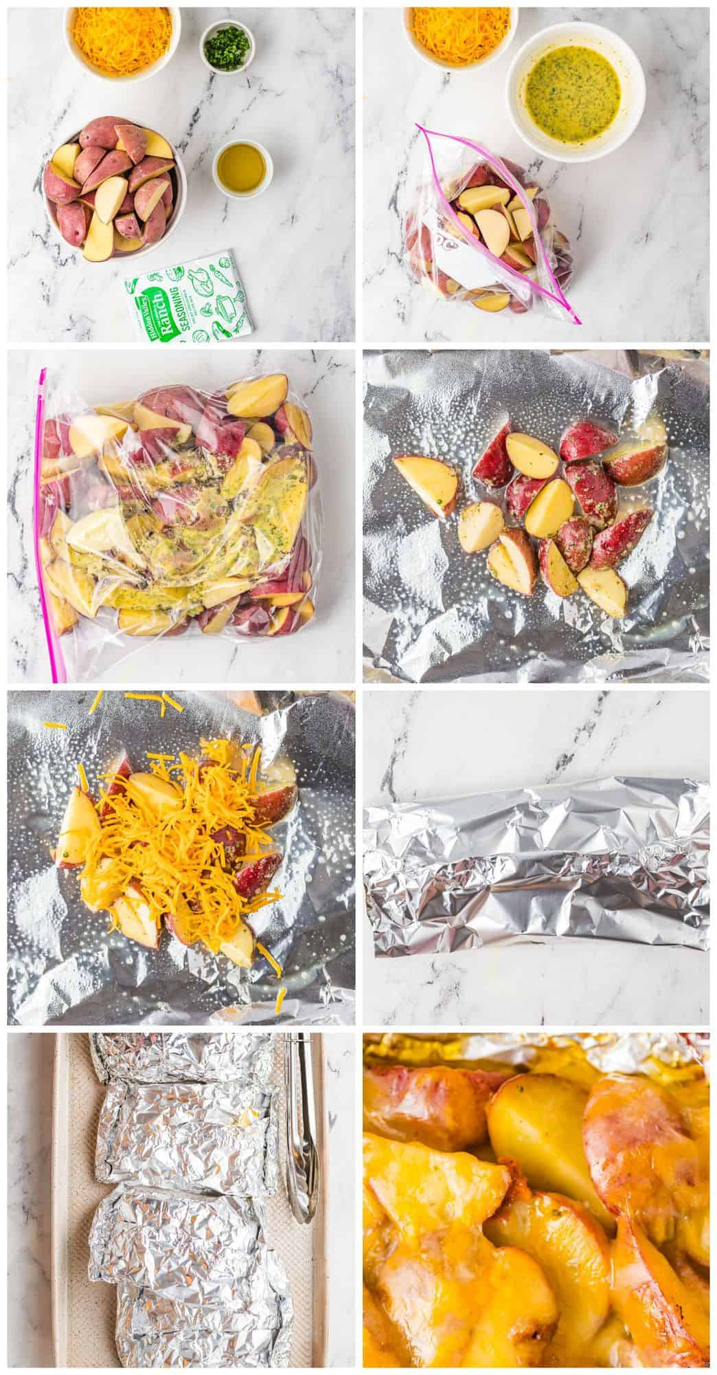 step by step photos for how to make grilled ranch potatoes