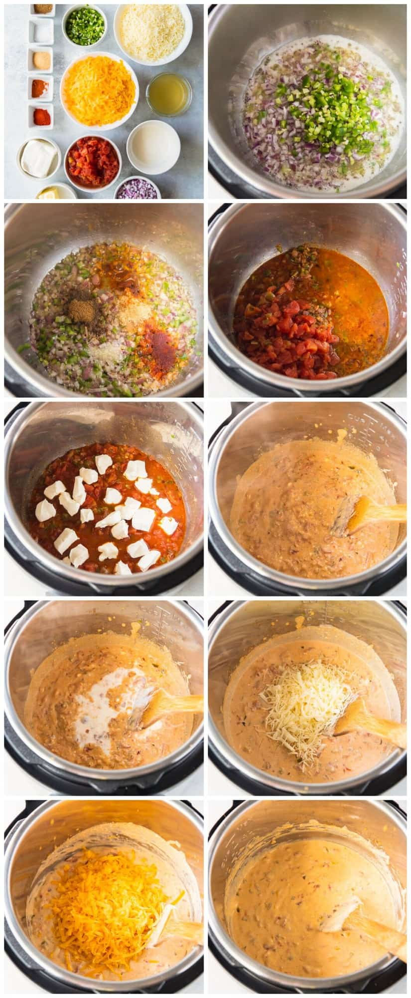 step by step photos for how to make instant pot queso