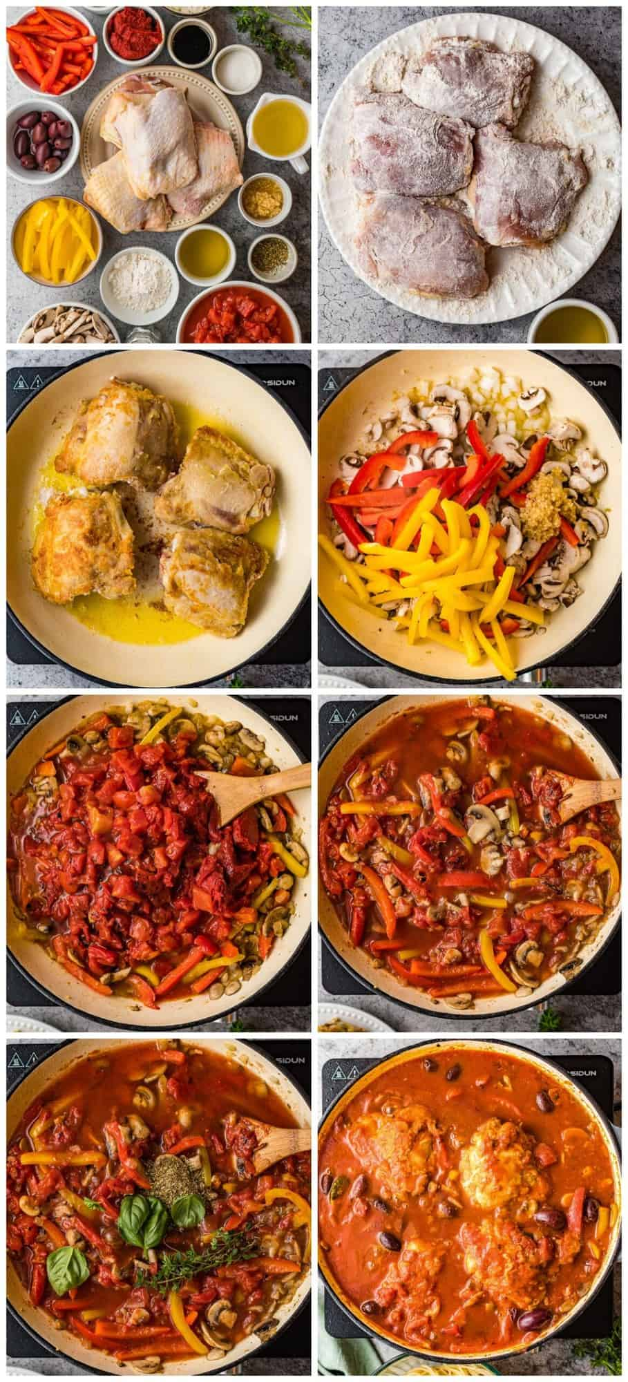 step by step photos for how to make chicken cacciatore