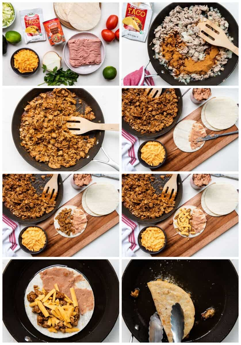 step by step photos for making turkey tacos