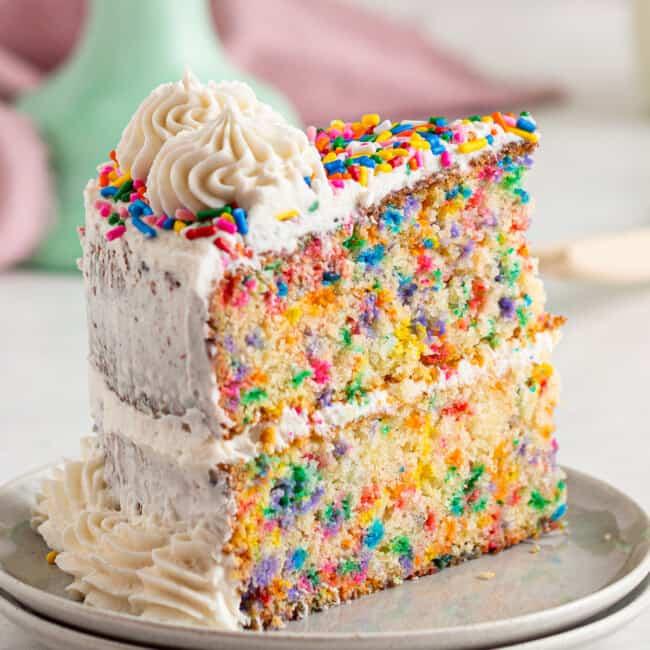 slice of funfetti cake