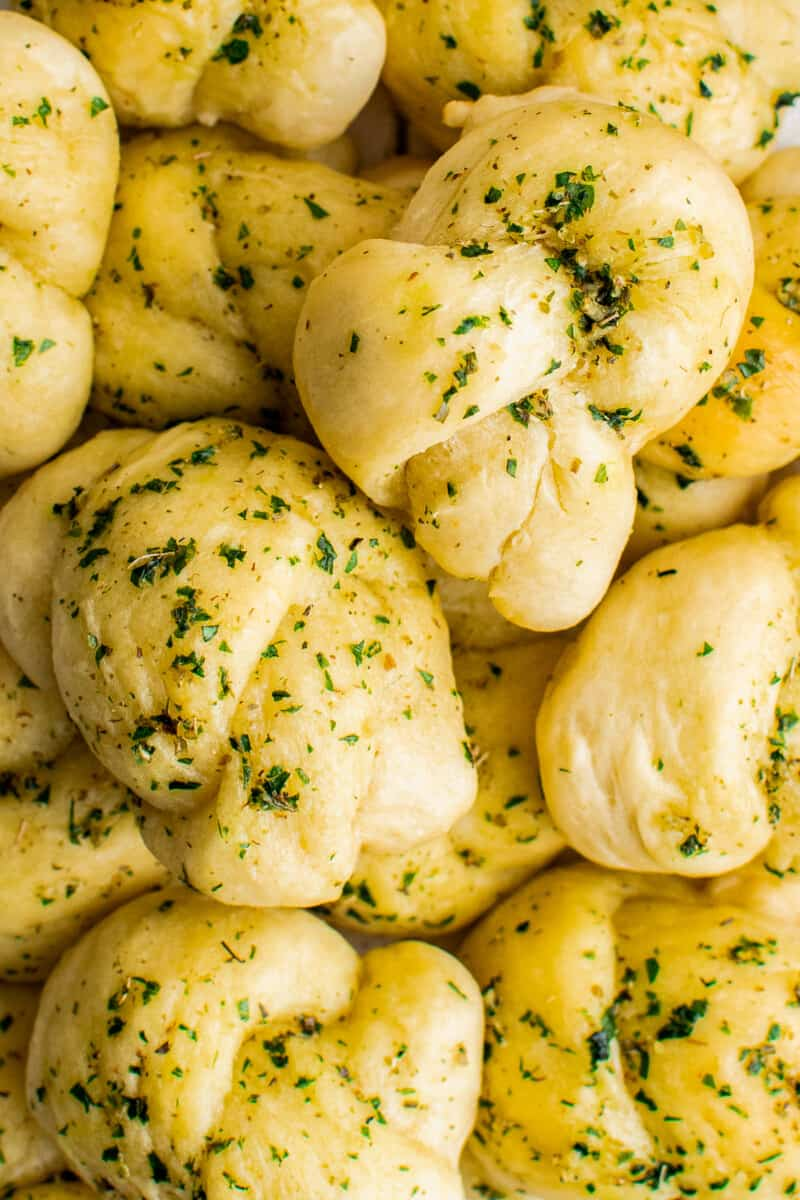 up close overhead image of garlic knots