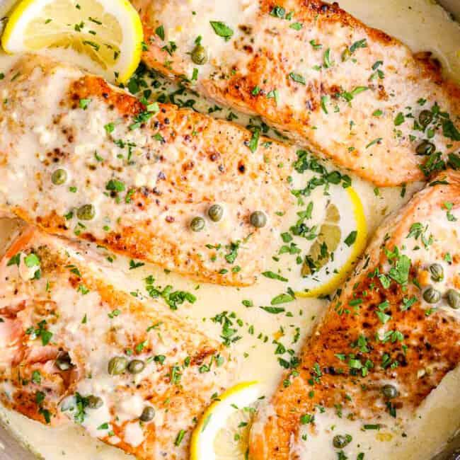 creamy salmon piccata in skillet