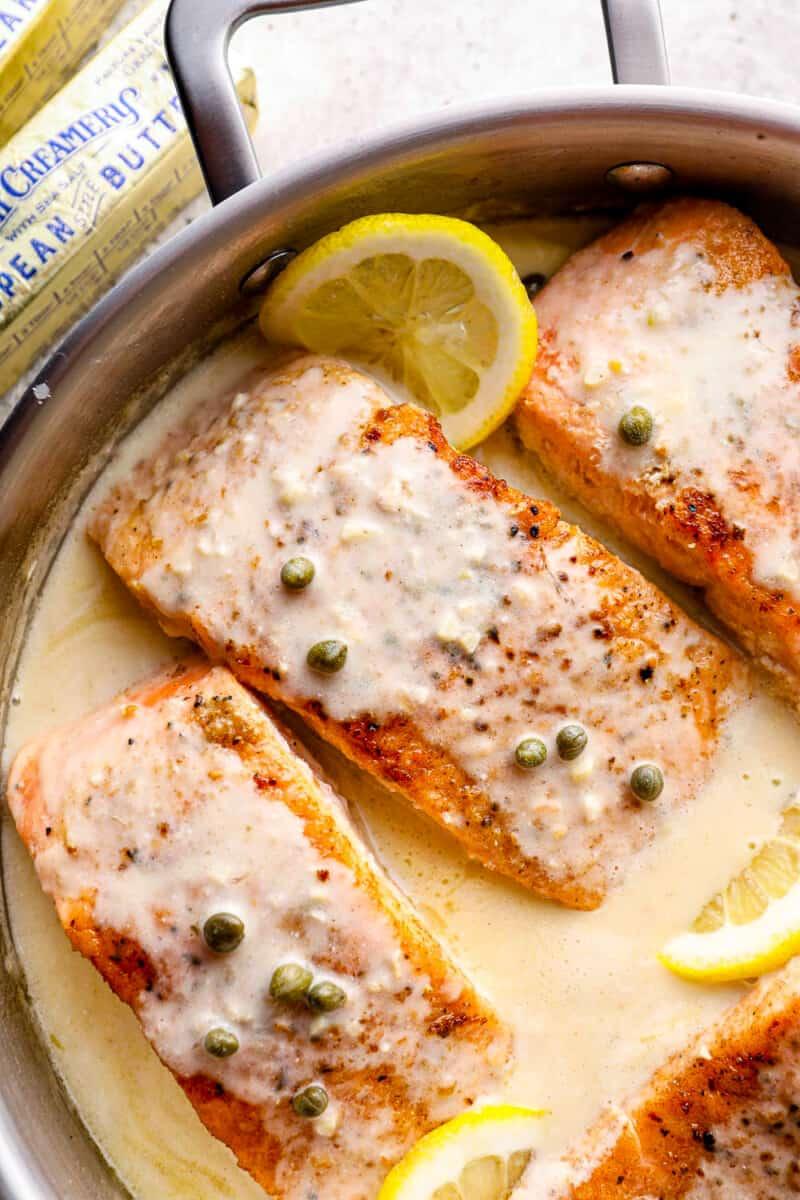 salmon piccata with lemon caper sauce