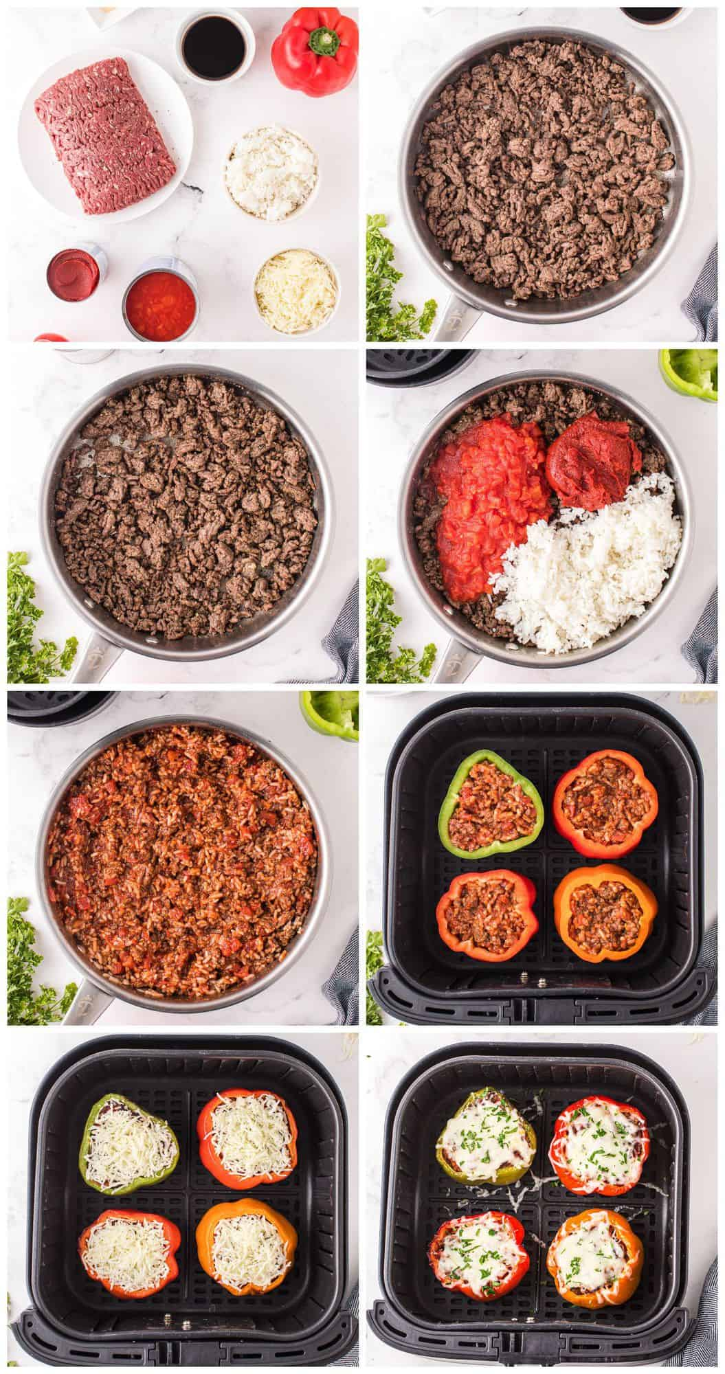 step by step photos for how to make air fryer stuffed peppers