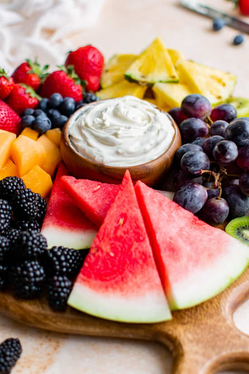 fruit board with cream cheese dip