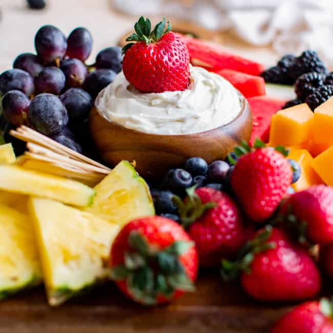 strawberry dipped in cream cheese fruit dip
