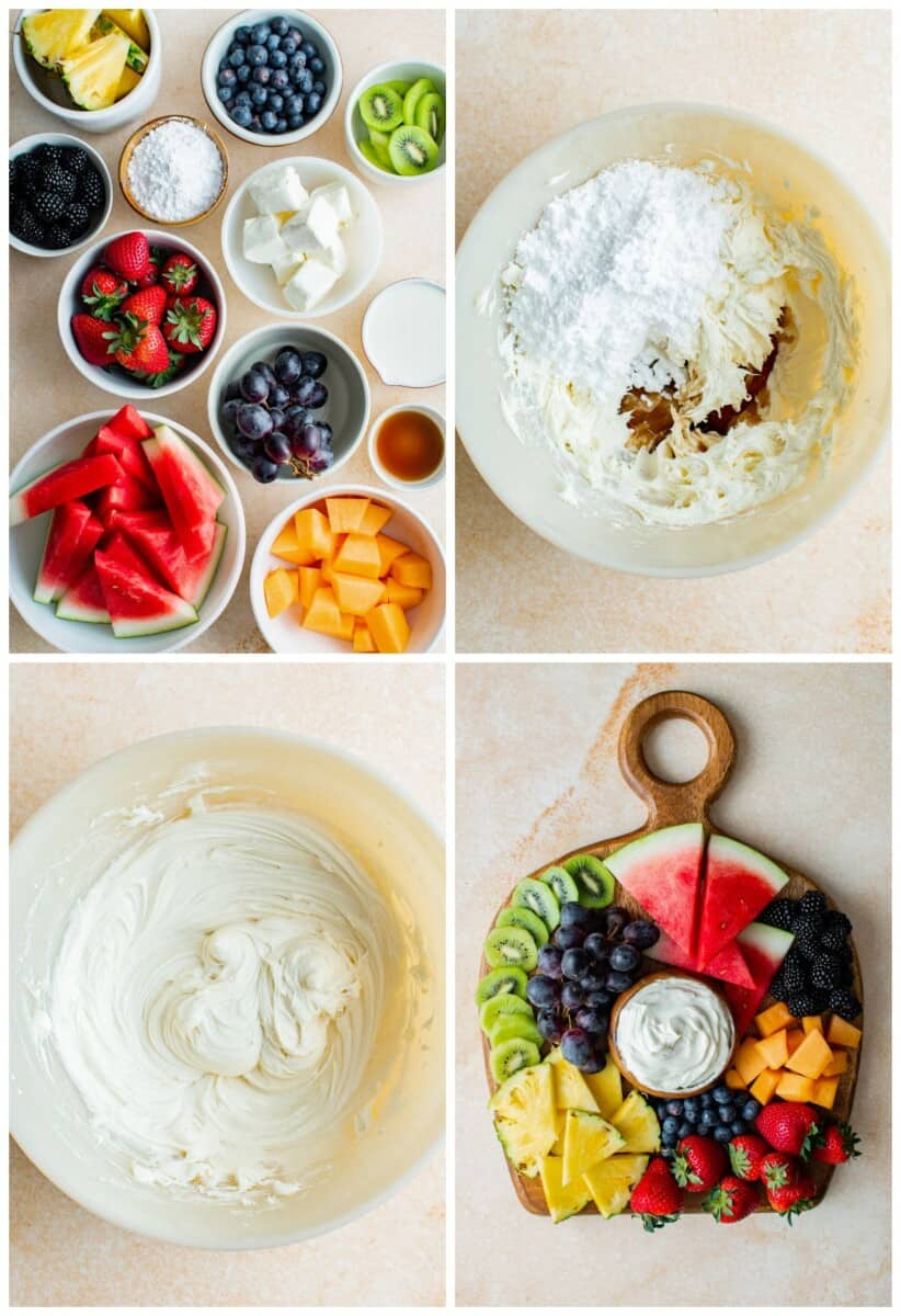 step by step photos for making cream cheese fruit dip and fruit board