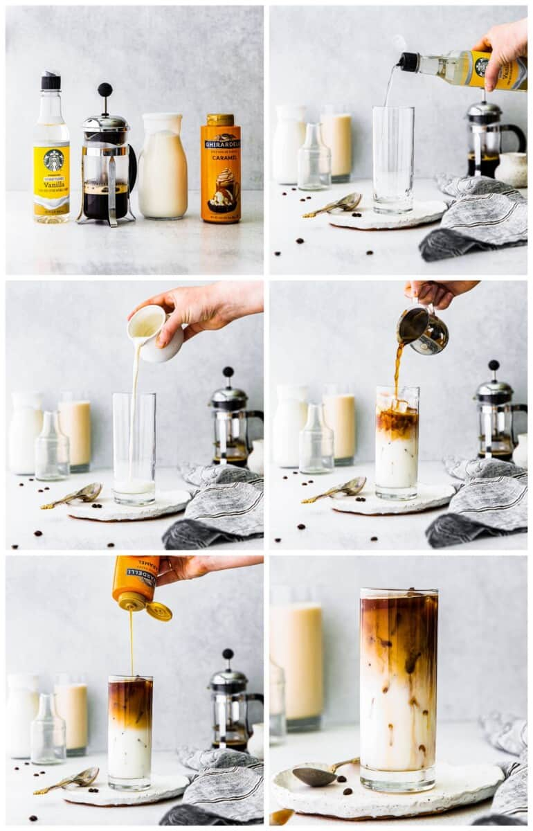 step by step photos for how to make iced caramel macchiato