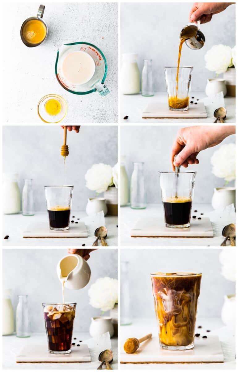 step by step photos for how to make honey almondmilk flat white