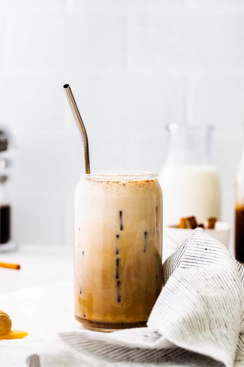 mixed iced honey cinnamon latte