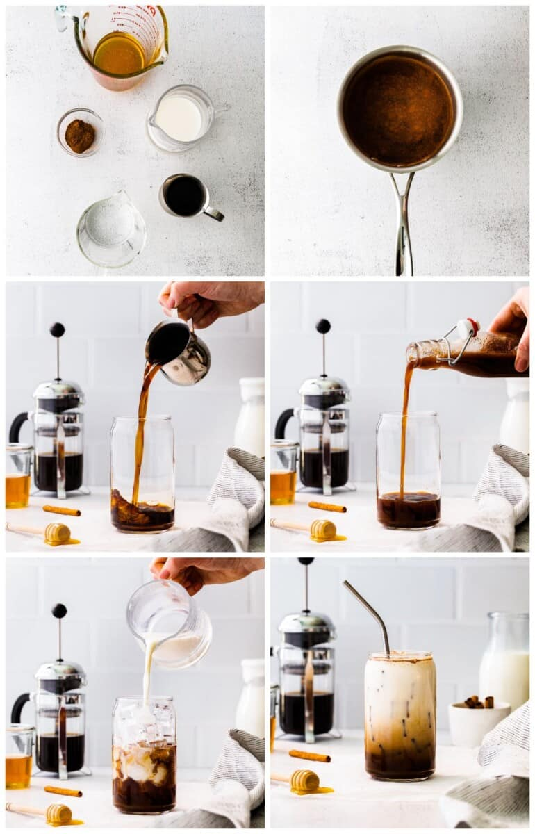 step by step photos for how to make iced honey cinnamon latte