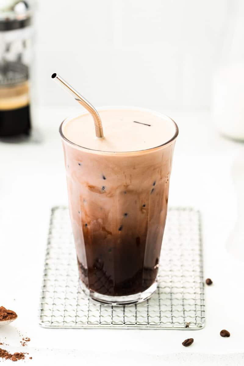 iced mocha in tall glass