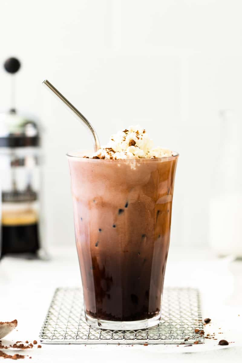 iced mocha in tall glass with whipped cream
