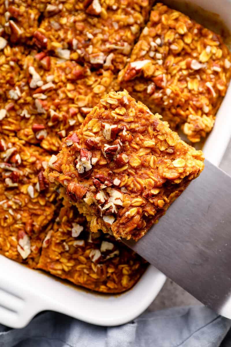 sliced of pumpkin pie baked oatmeal