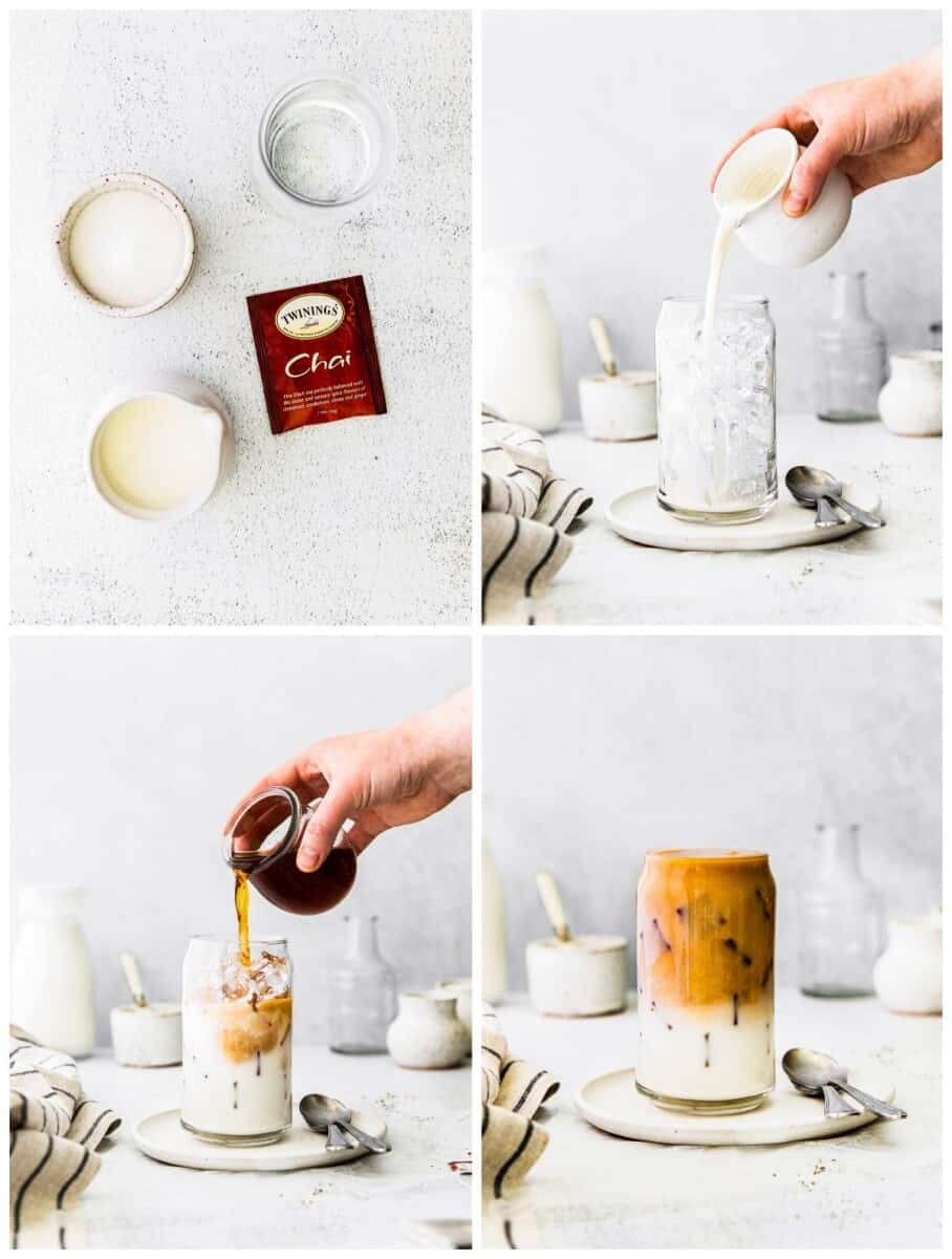 step by step photos for how to make iced chai tea lattes