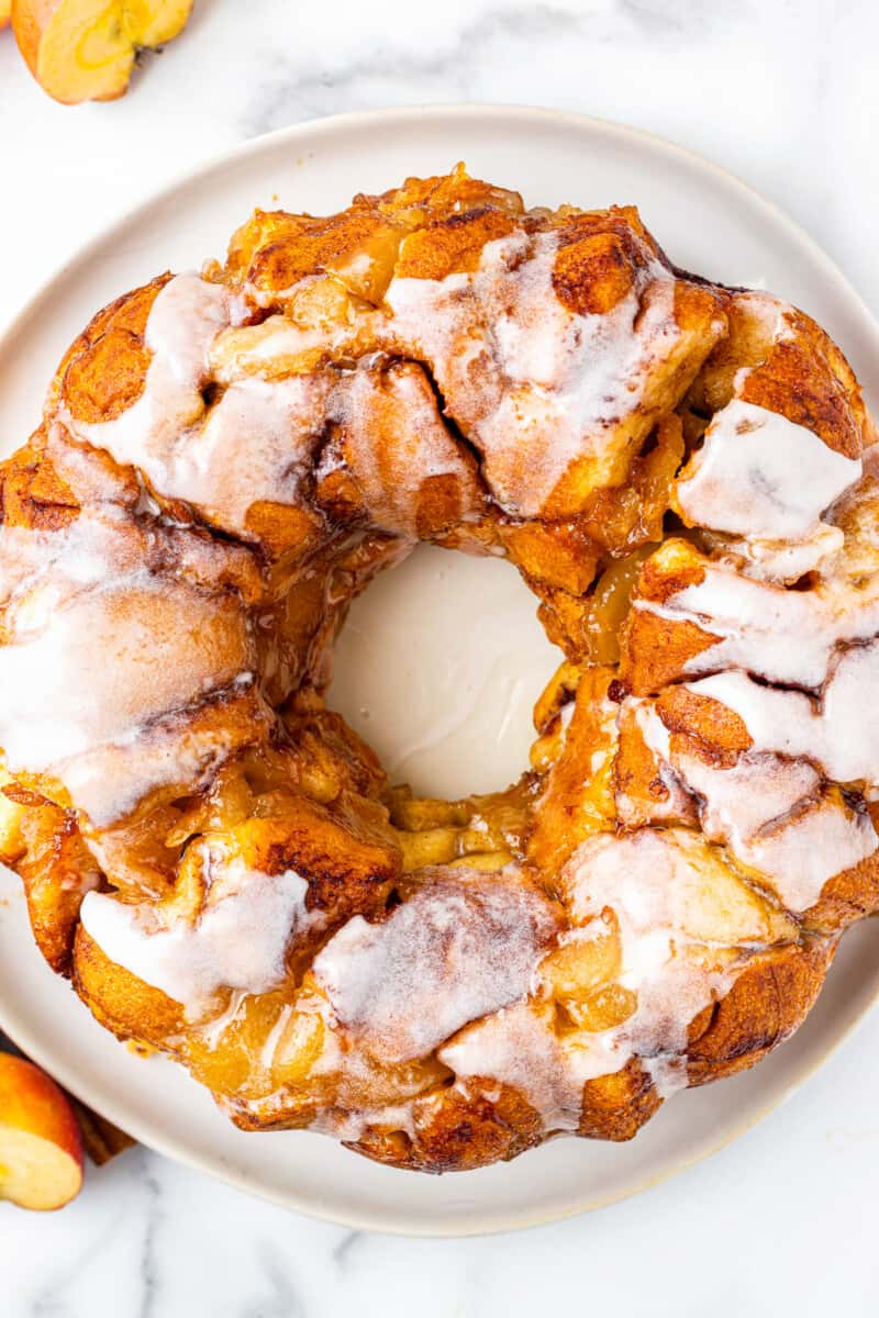 overhead apple pie monkey bread with frosting