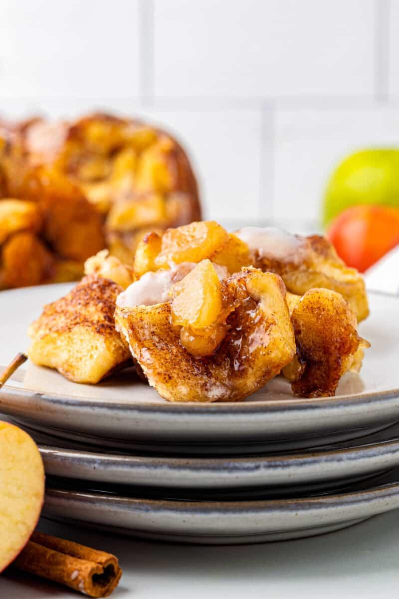 apple pie monkey bread on a plate