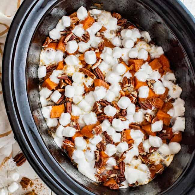 crockpot sweet potato casserole in slow cooker