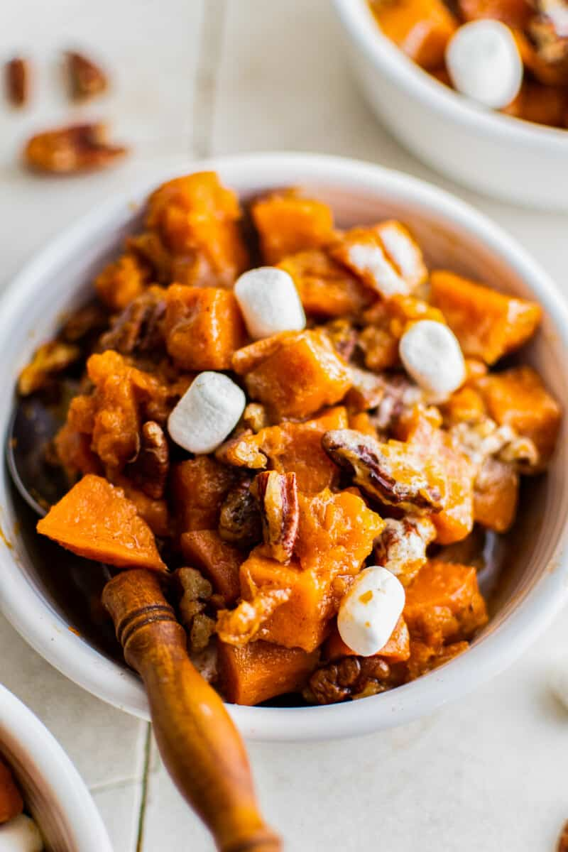 up close bowl of sweet potato casserole made in slow cooker