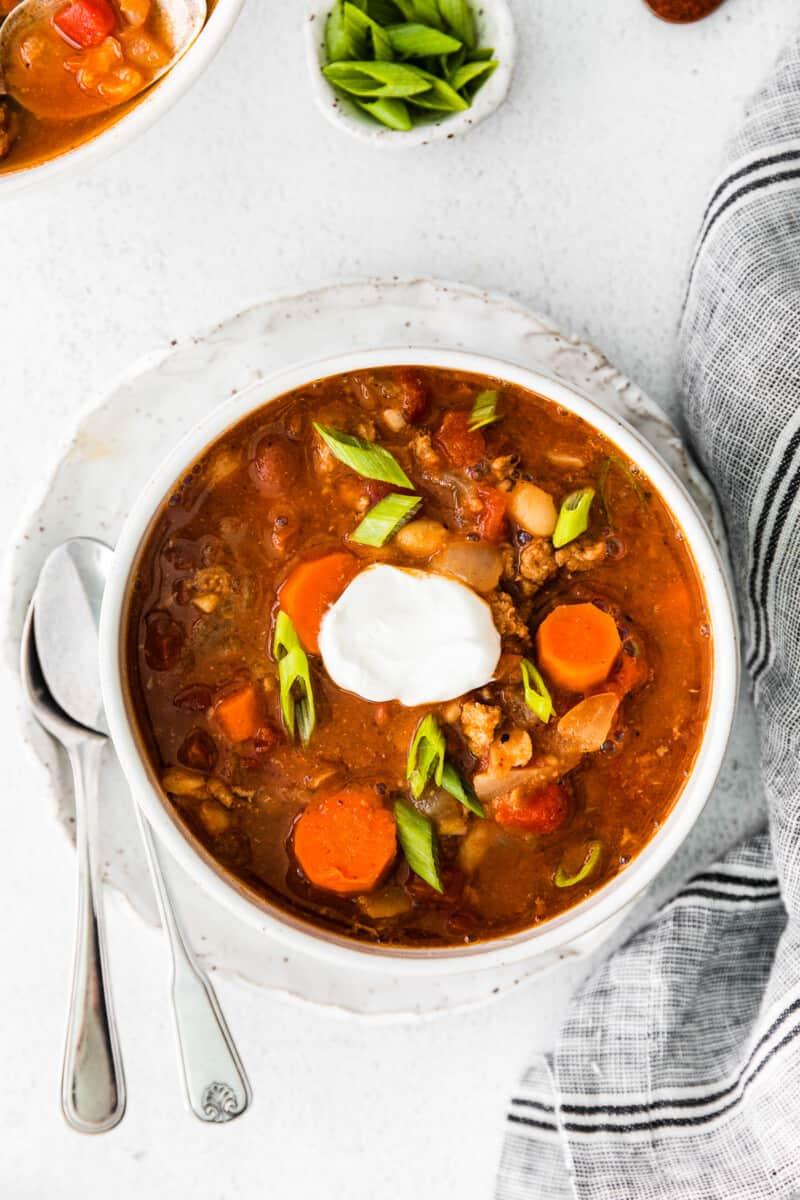 white bowl with instant pot turkey chili