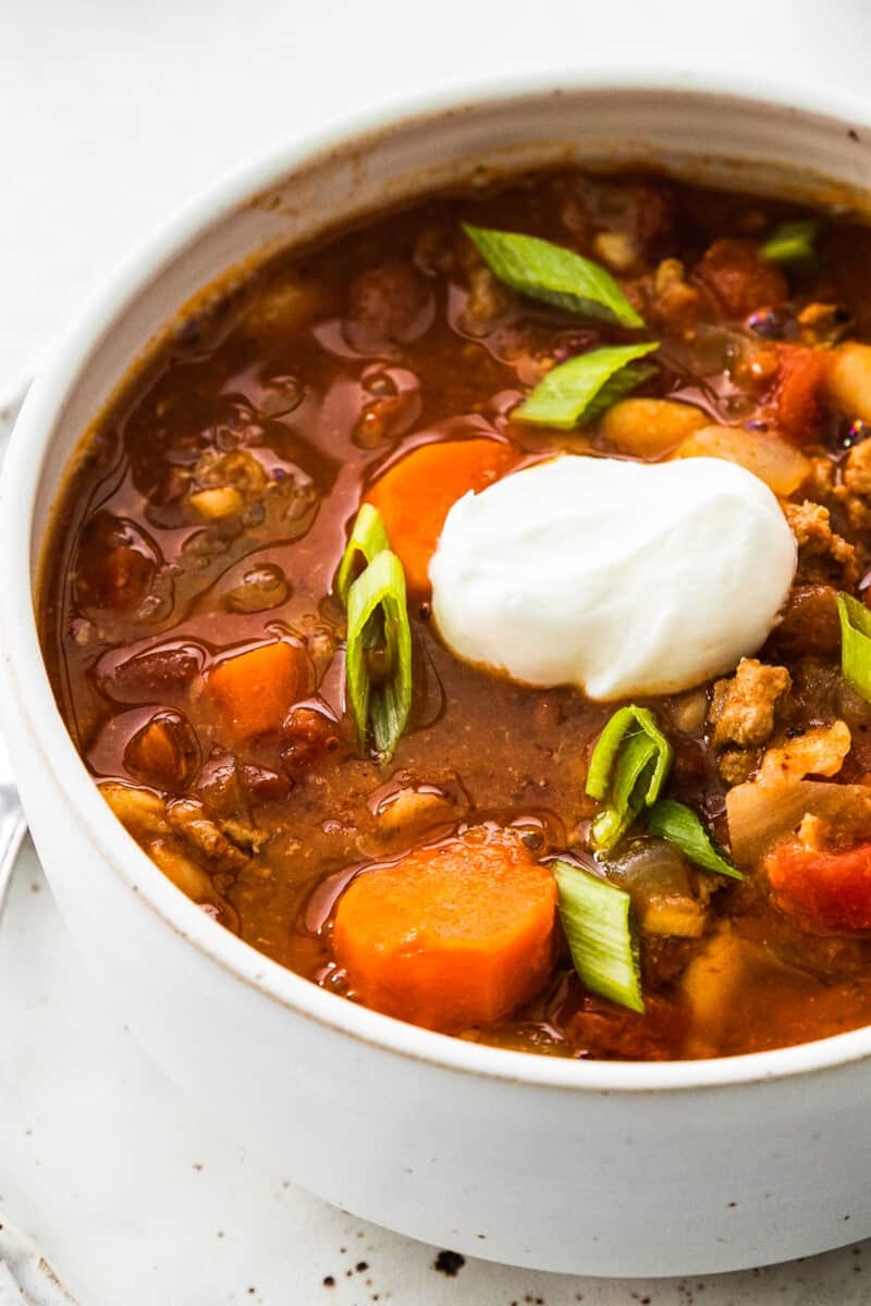 up close side view of instant pot turkey chili