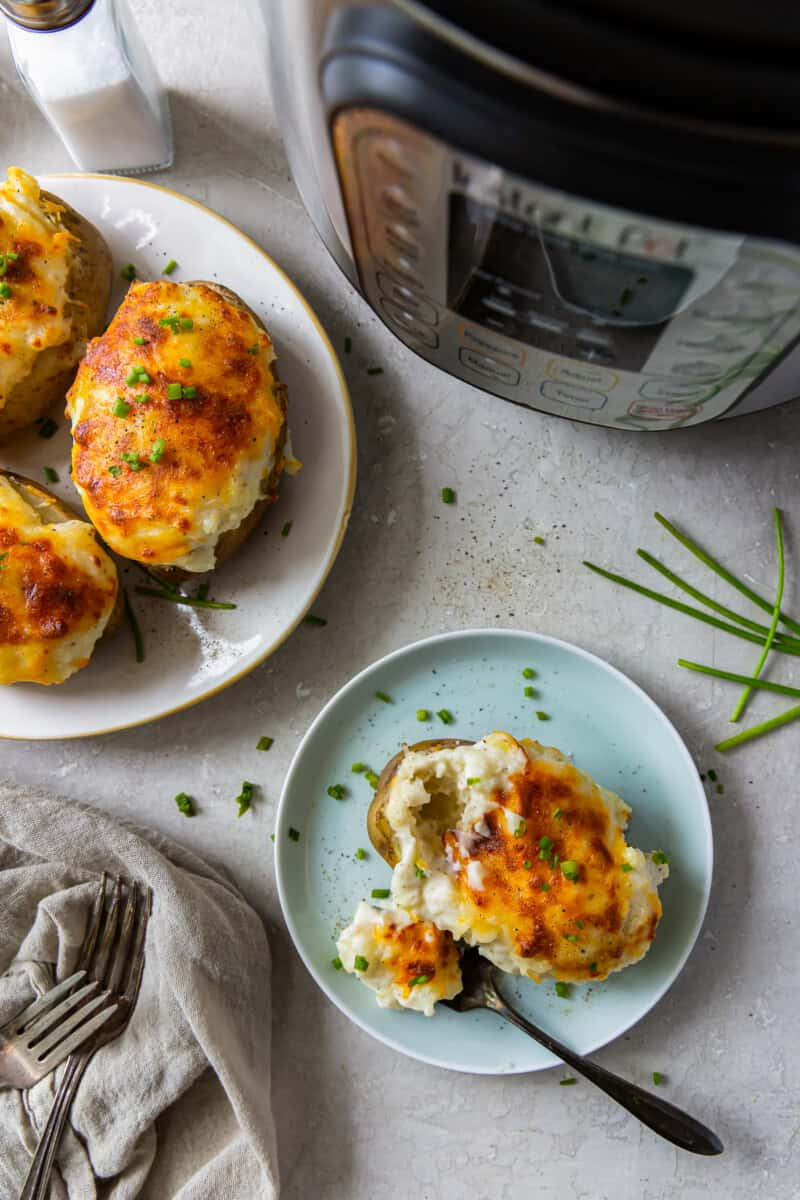 instant pot twice baked potatoes on plates
