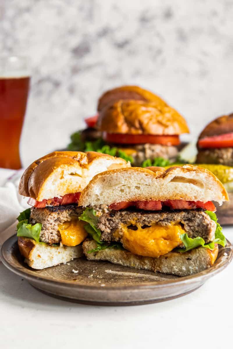 cheesy inside of juicy lucy turkey burger