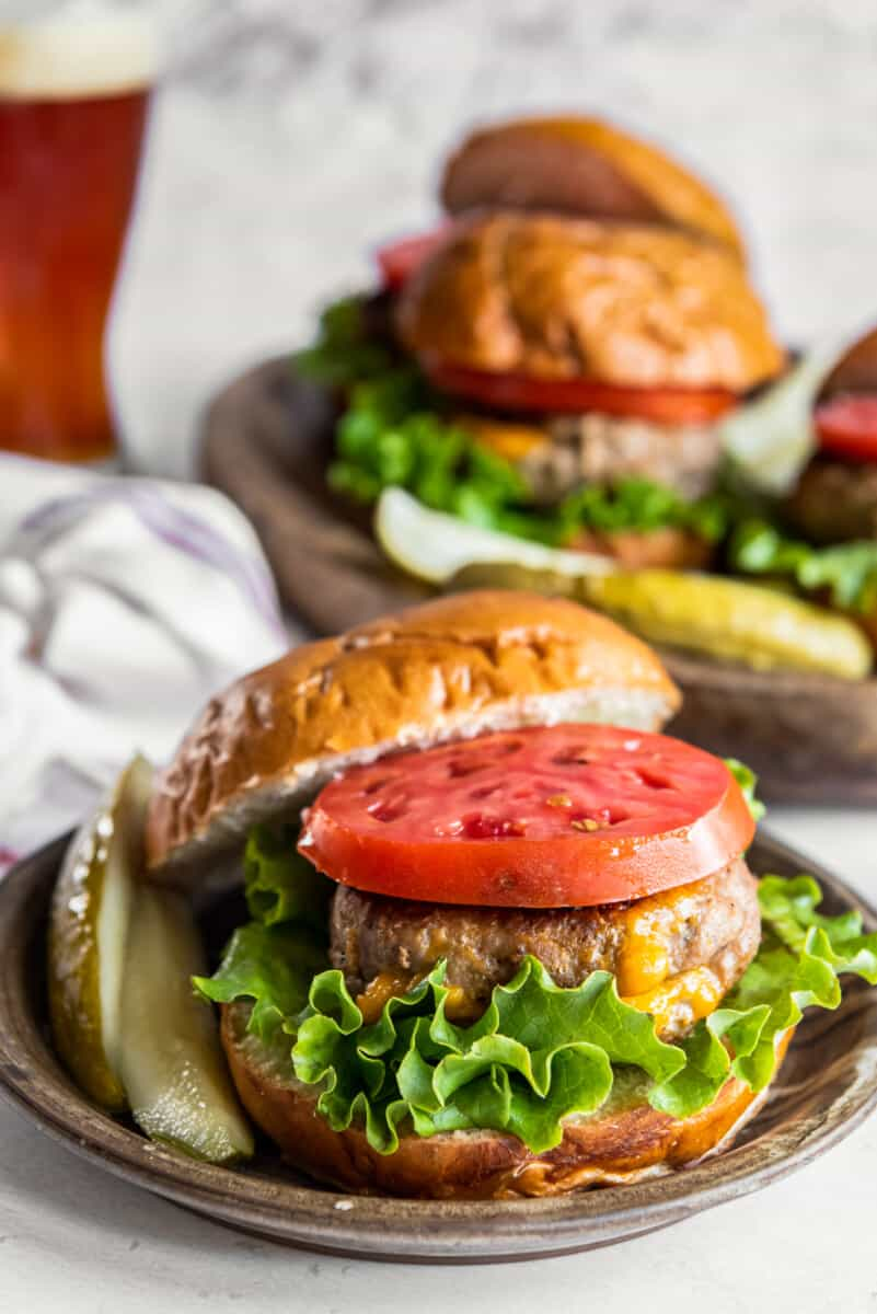 juicy lucy turkey burger with lettuce and tomato