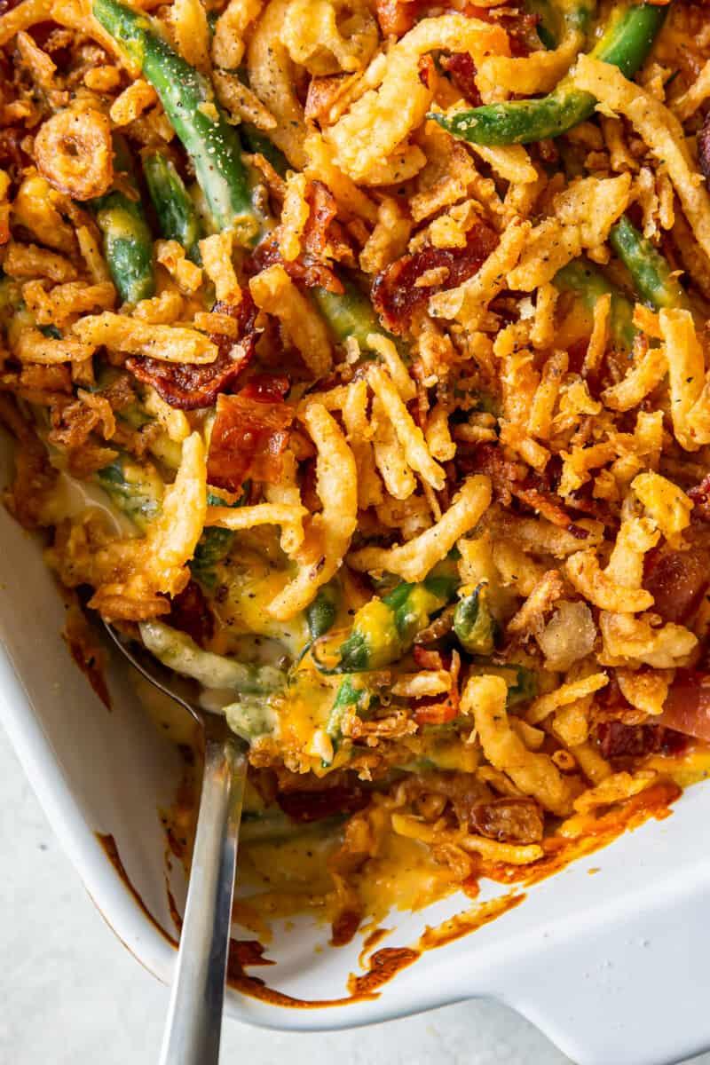 up close loaded green bean casserole