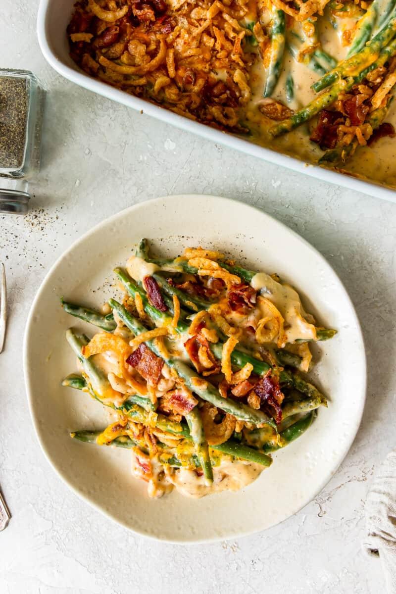 plate of loaded green bean casserole