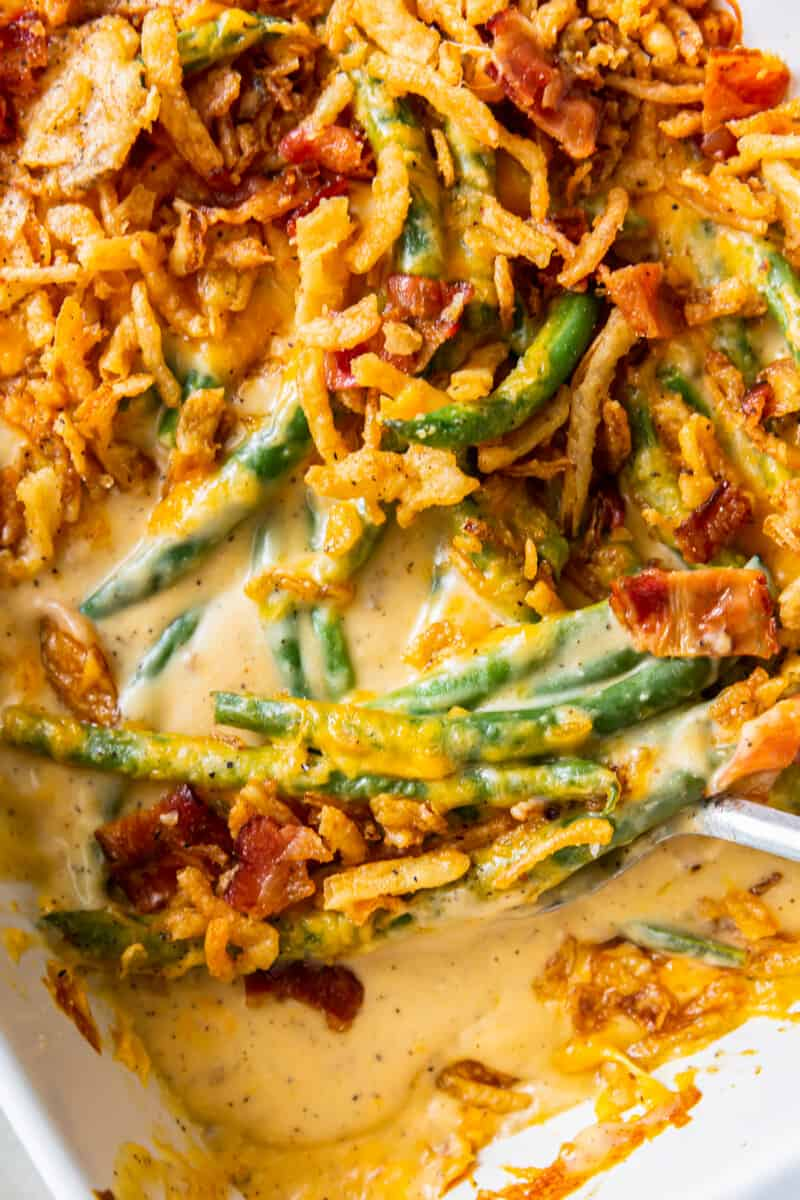 loaded green bean casserole in baking dish