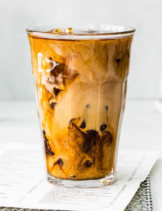 up close pumpkin cream cold brew in glass cup