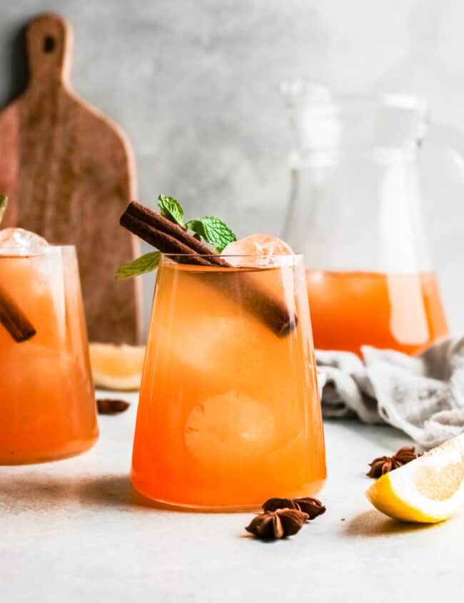 pumpkin whiskey smash over ice